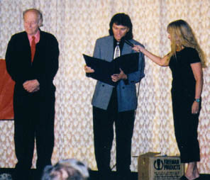 Ray Harryhausen receives his proclamation from the Mayor of Kansas City.