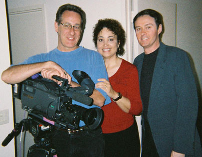 Ben Hur documentary producer Michelle Redmond and Bruce Crawford with the videographer after the interview.