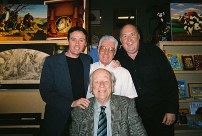 Bruce Crawford, Ray Harryhausen (seated), Arnold Kunert and