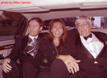 Bruce Crawford and Lora Davis and Actor Kevin McCarthy in the limo. Photo by Mike Hansen.